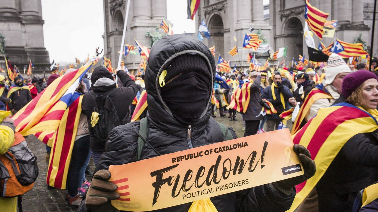 .Manifestación en Bruselas a favor del proceso secesionista