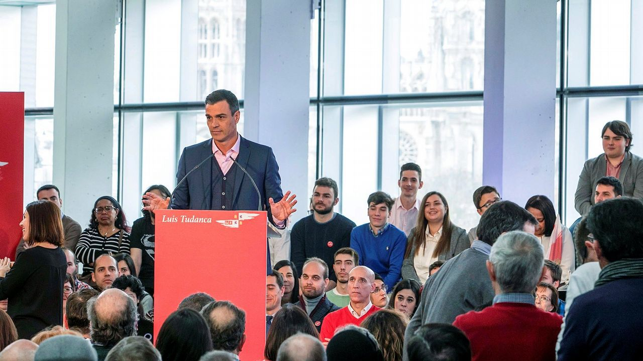 Pedro Sánchez, durante su intervención en el acto de hoy en Burgos