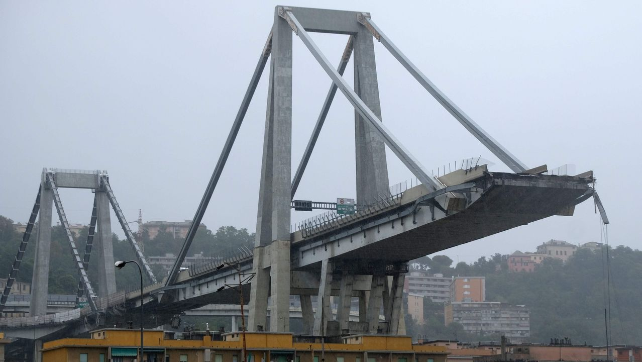 Las imágenes del derrumbe en Génova