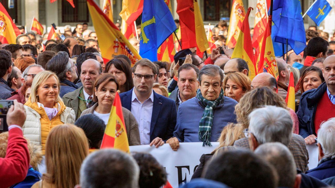 Miles de personas llenan la plaza de Colón de Madrid.Oviendo se adelantó a las manifestaciones de hoy con una manifestación convocada por el Foro Asturias