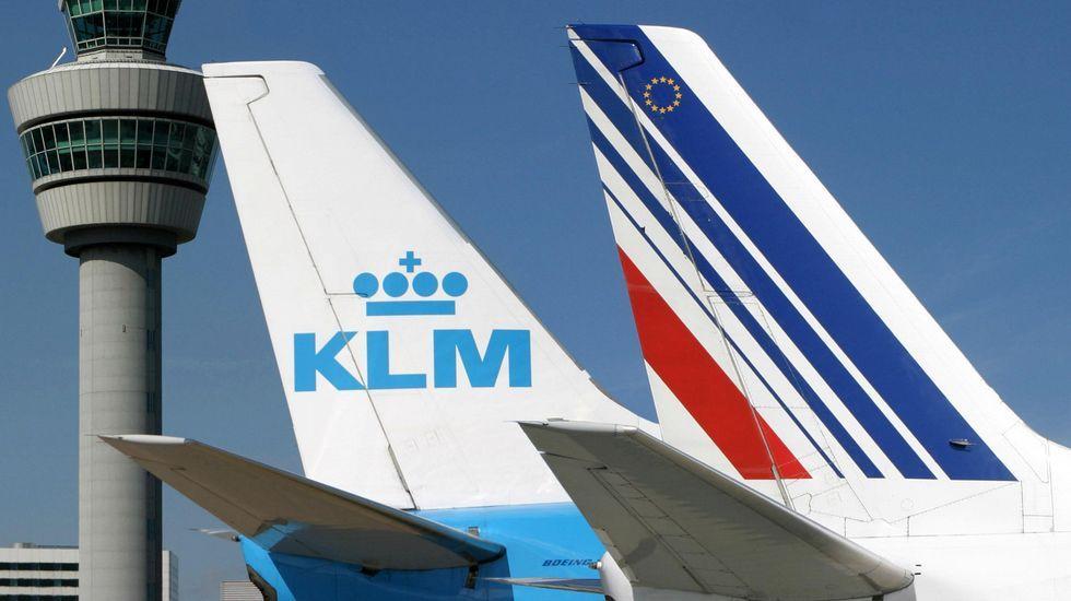 .Cola de un avión de la compañía de los Países Bajos KLM, la más segura de Europa.