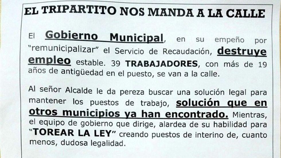 Wenceslao López.Octavillas repartidas por los trabajadores de la auxiliar de recaudación