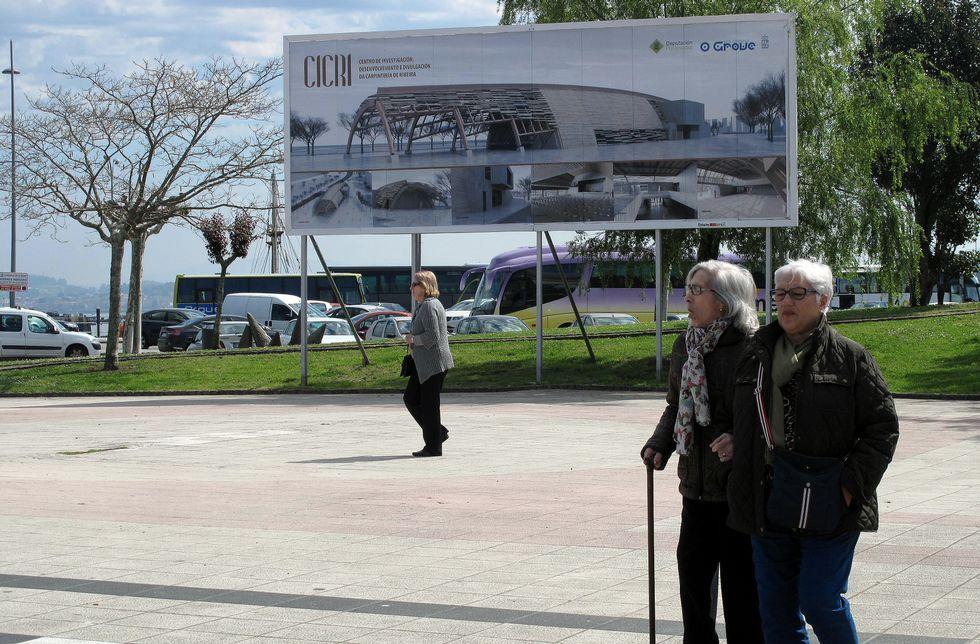 El Concello de O Grove ha instalado un cartel en la parcela en la que se construirá el Cicri.