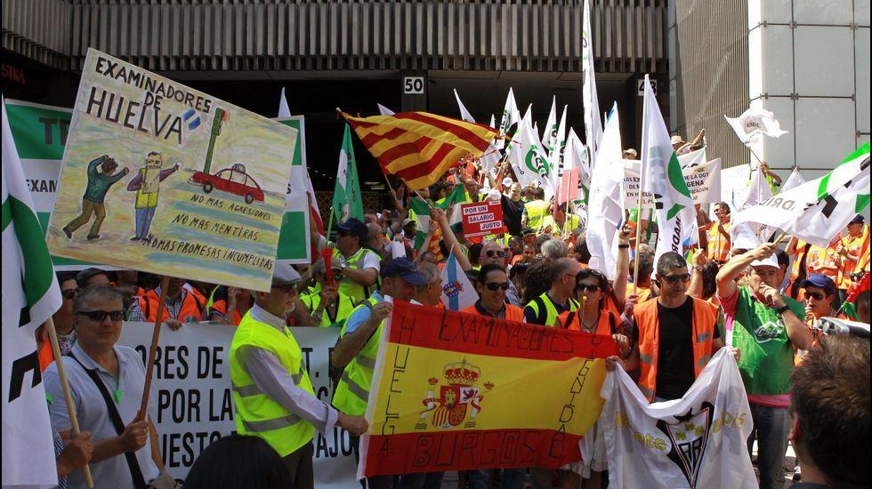 Concentración de los examinadores de tráfico, en una jornada de huelga convocada en toda España en 2017