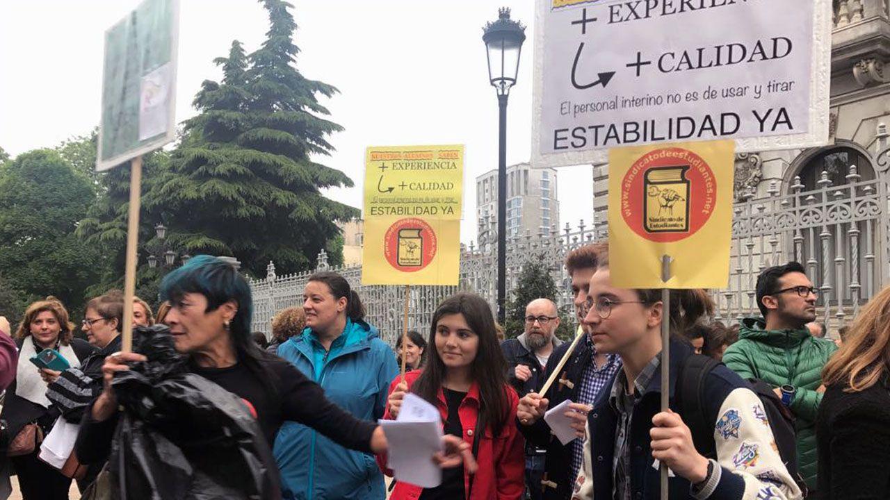 Interinos docentes, en la concentración celebrada en Oviedo
