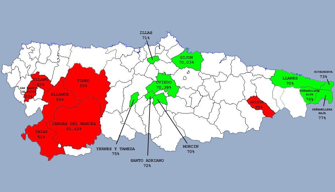Los concejos asturianos que registraron más y menos participación en las elecciones generales de 2016