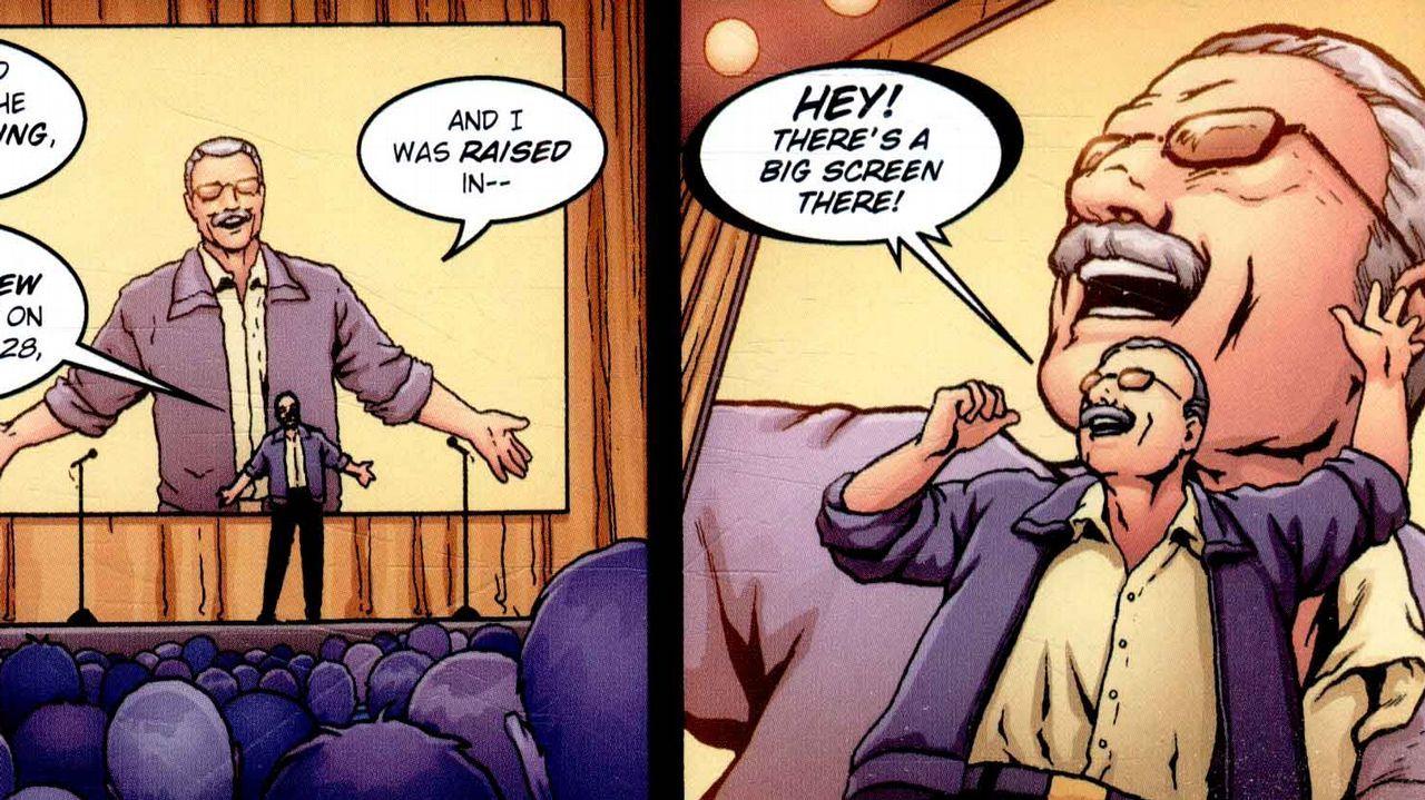 Detalle de unas viñetas del cómic sobre Stan Lee en su edición original estadounidense