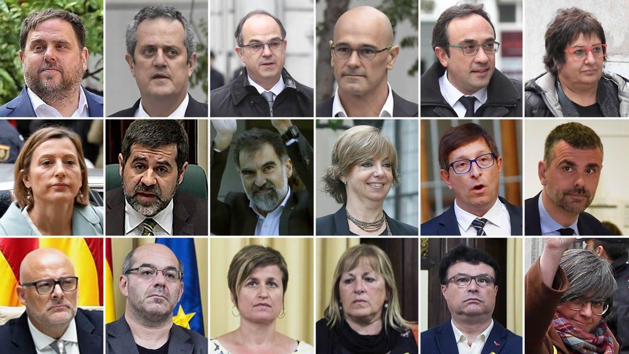 Los 18 procesados.Borrel dijo que no puede recurrir a las embajadas mientras no cumplan la legalidad