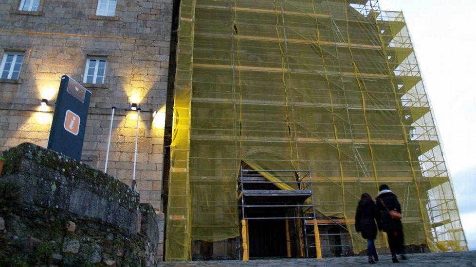 Recorrido fotográfico por la mina del Burato do Lobo.La cámara instalada en Praterías (arriba a la derecha) no logró captar el atentado contra la fachada catedralicia