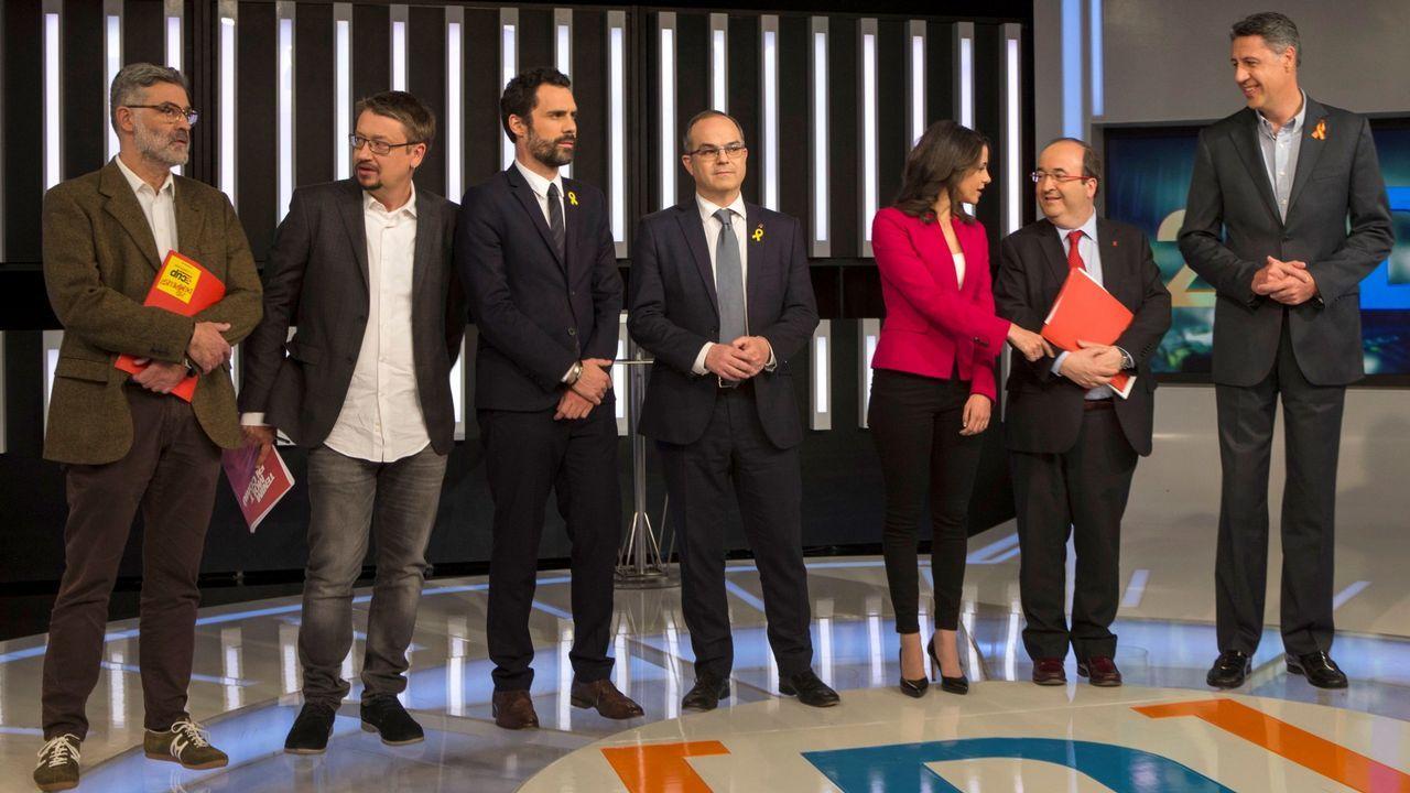 .Los representantes de los partidos catalanes, durante uno de los debates electorales