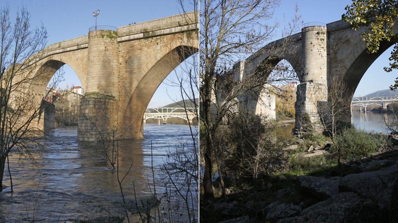 El puente romano de Ourense en una imagen de hace tres años y en otra de esta semana