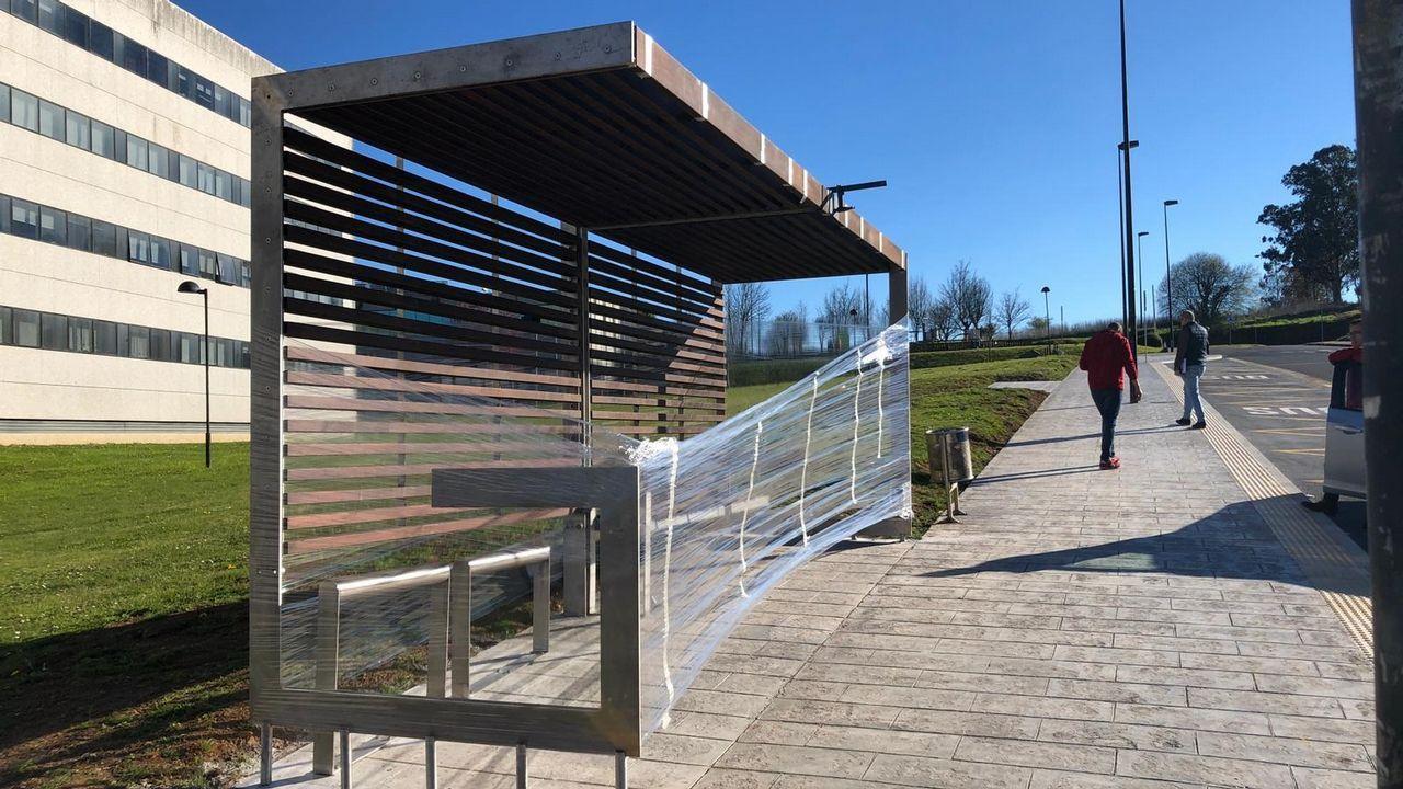 Modelo de marquesina que la Xunta implantará en entornos urbanos