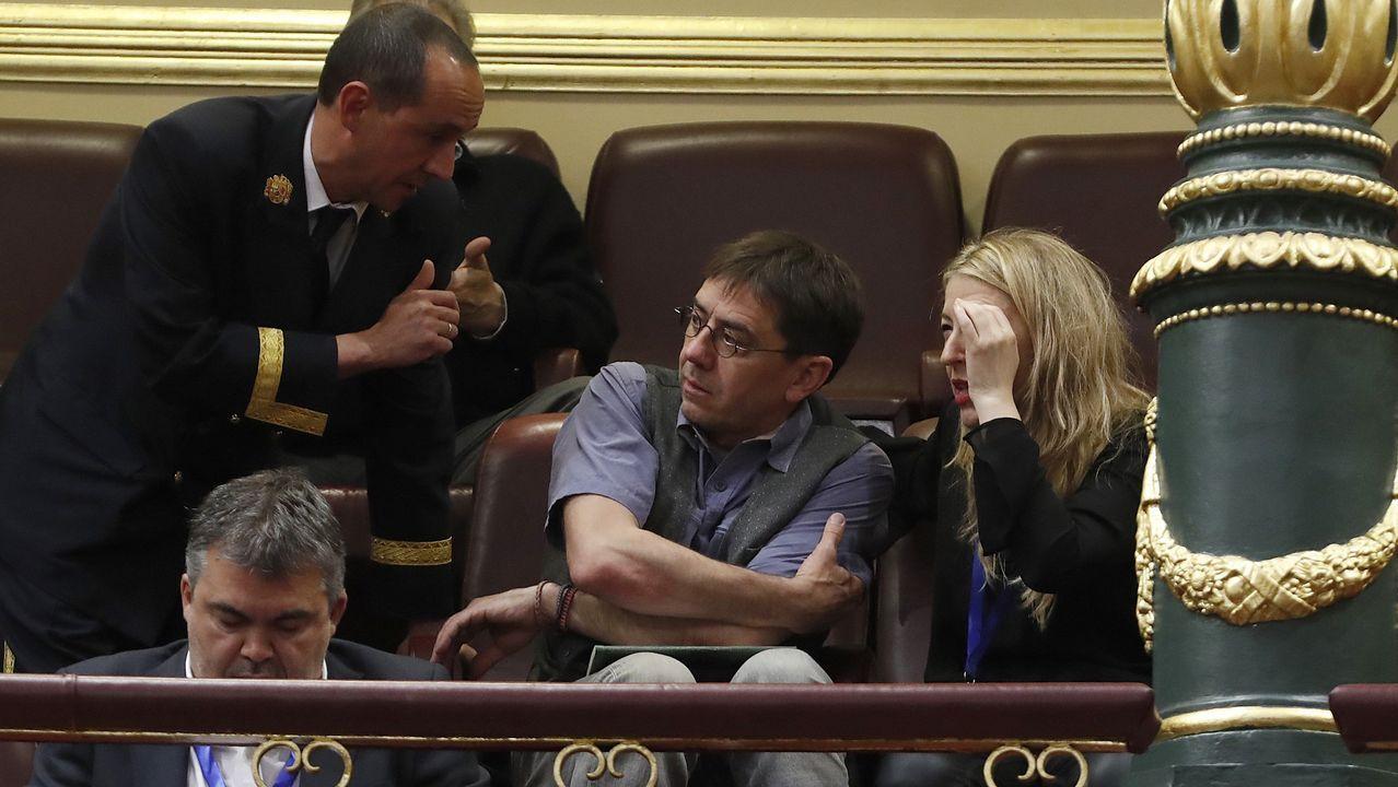 El fundadorde Podemos, Juan Carlos Monedero, también en la tribuna de invitados.