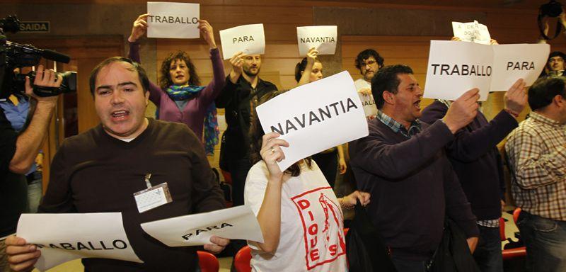 navantia.Protestas de los trabajadores de Navantia en la tribuna del Parlamento