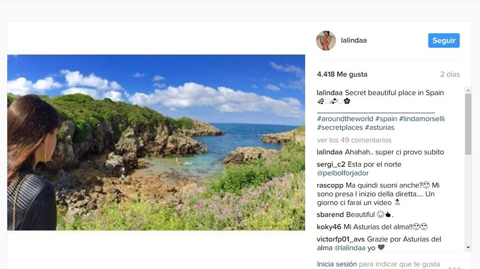Perfil de Instagram de Linda Morselli.Perfil de Instagram de Linda Morselli