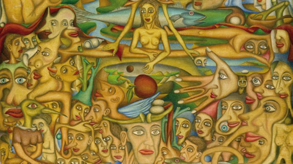 Las «Crónicas geoestratégicas»de Cuco Suárez, en elBellas Artes.Un fragmento de «Mundo oculto», obra de Aurelio Suárez