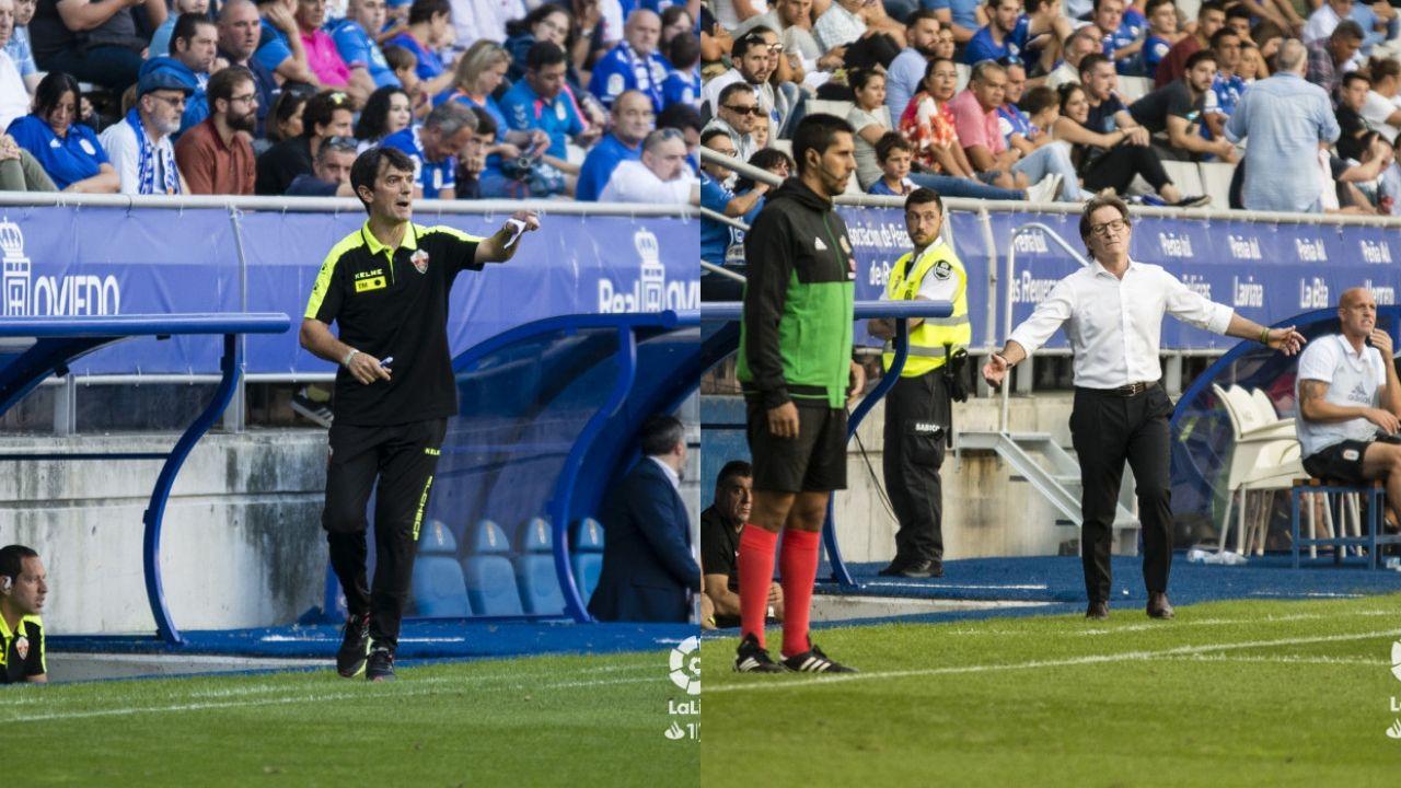 Pacheta y Anquela dan instrucciones en el Oviedo-Elche
