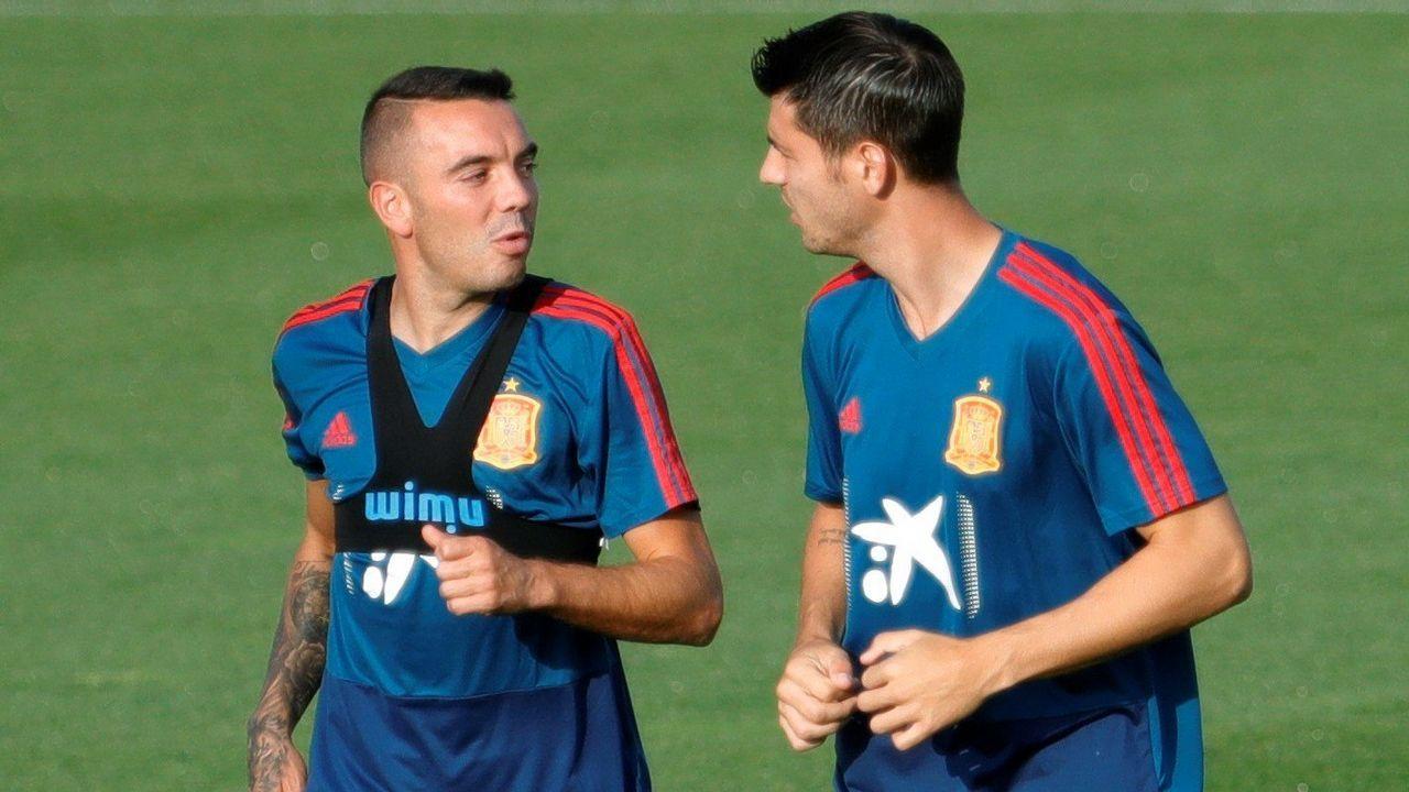 Primer entrenamiento de Aspas a las órdenes de Luis Enrique en la selección.