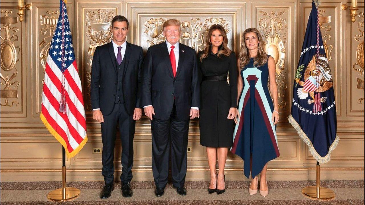 .Pedro Sánchez y Begoña Gómez, con Donald y Melania Trump