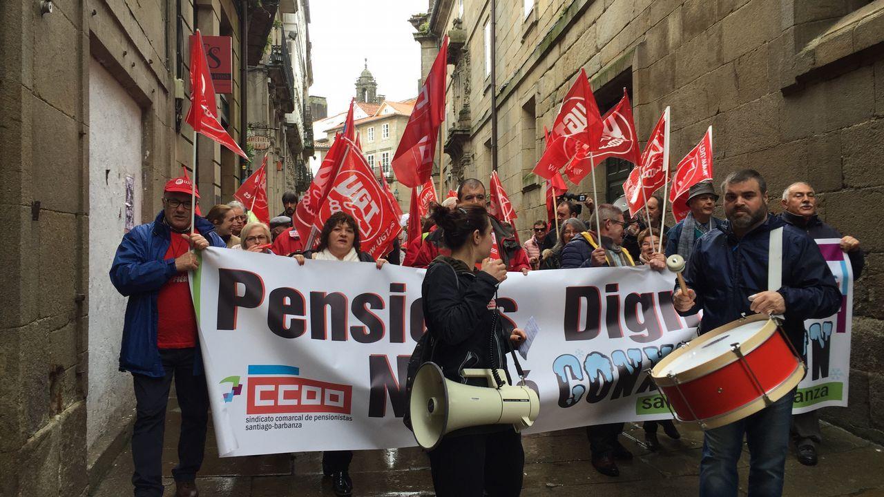 Manifestación por una pensión digna en Santiago.