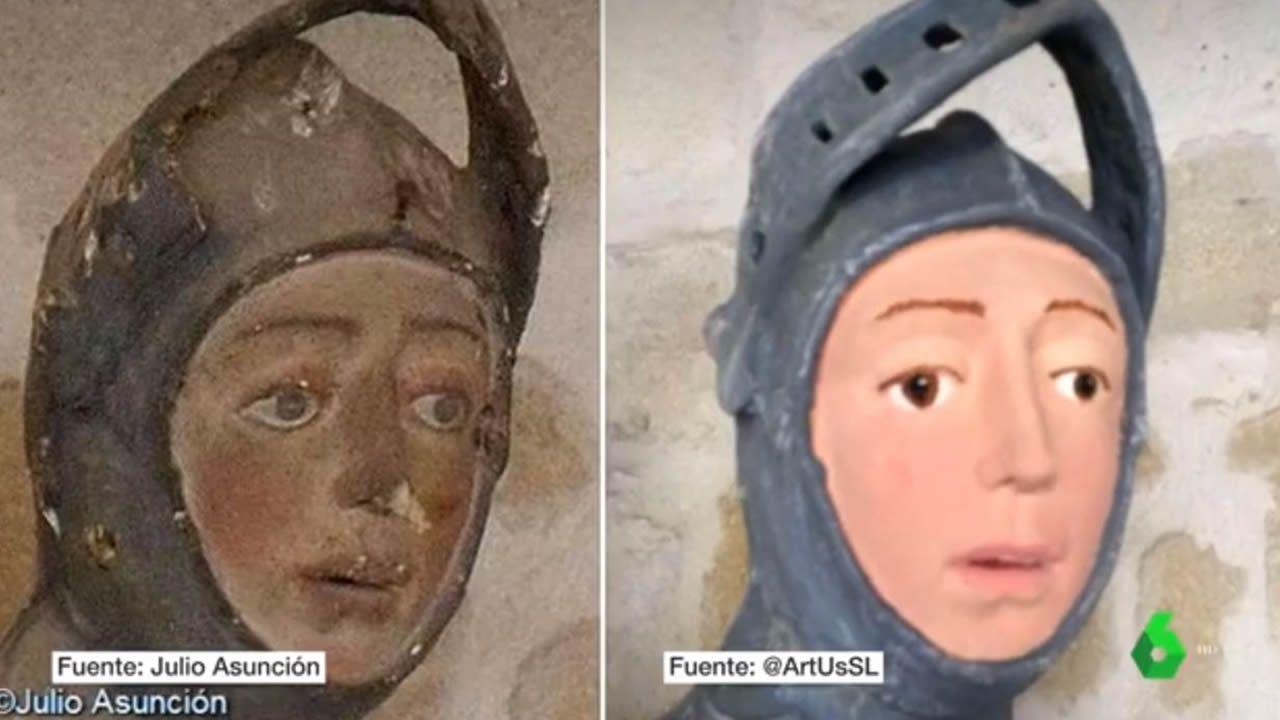 Polémica restauración de un San Jorge en la localidad navarra de Estella.Algunas de las tallas de la iglesia de Rañadoiro, en Tineo, tras la 'restauración' a manos de una vecina