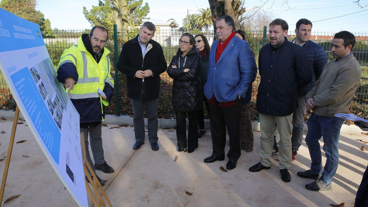 La conselleira de Infraestructuras visita las zonas afectadas por las riadas.Obras en el AVE, en Ourense