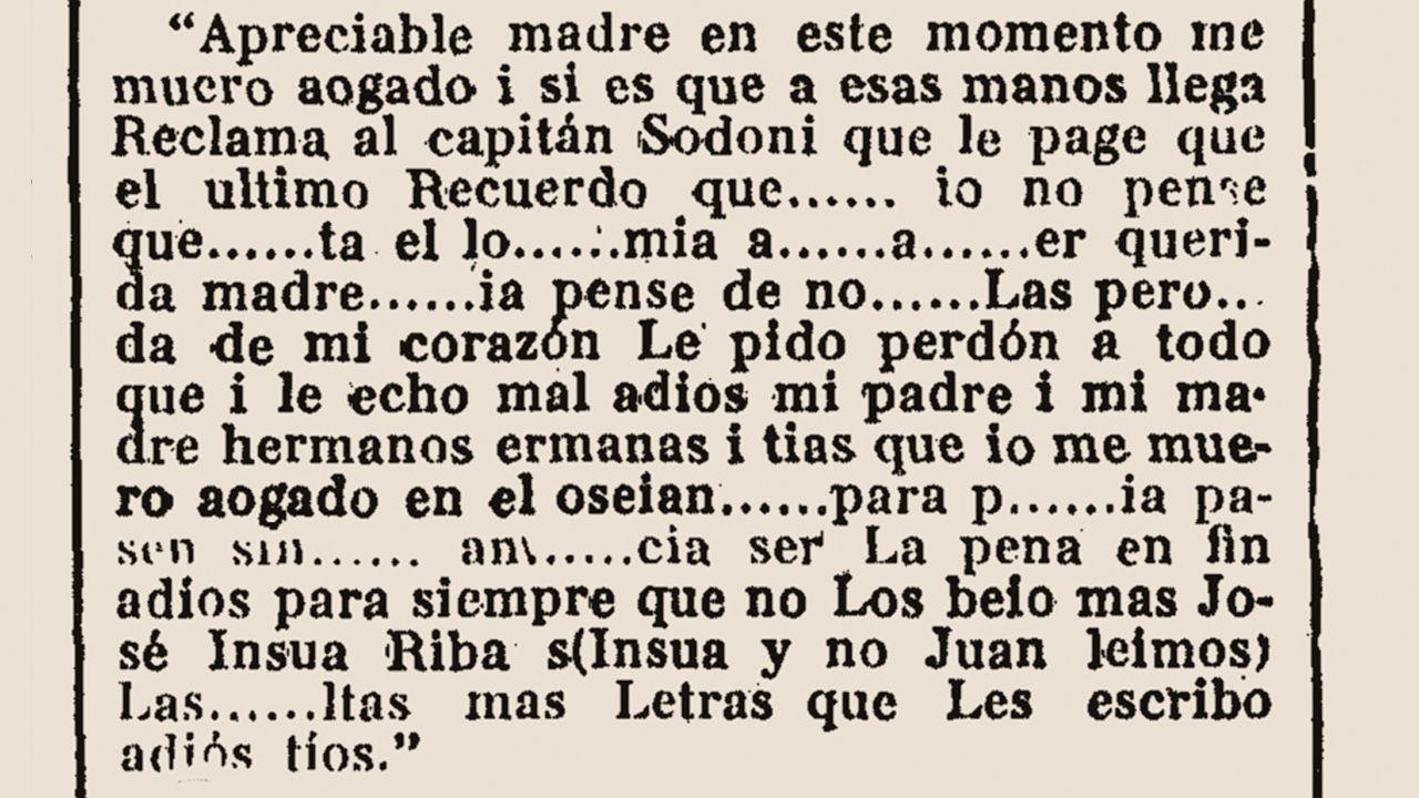 Carta manuscrita de un marino español lanzada al mar en una botella y que llegó, muy deteriorada, a las autoridades marítimas en Galicia.