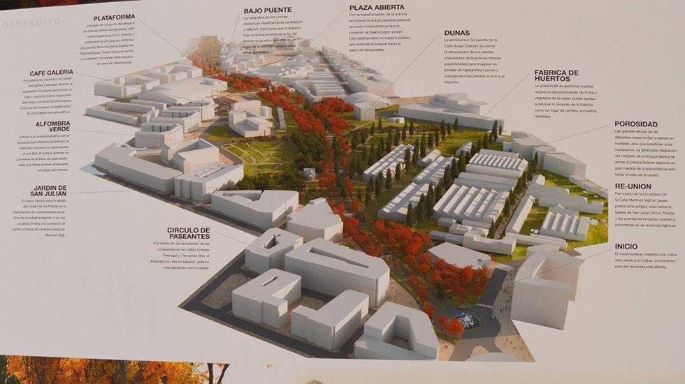 Plano de uno de los proyectos finalistas del concurso del Bulevar de Santuyano