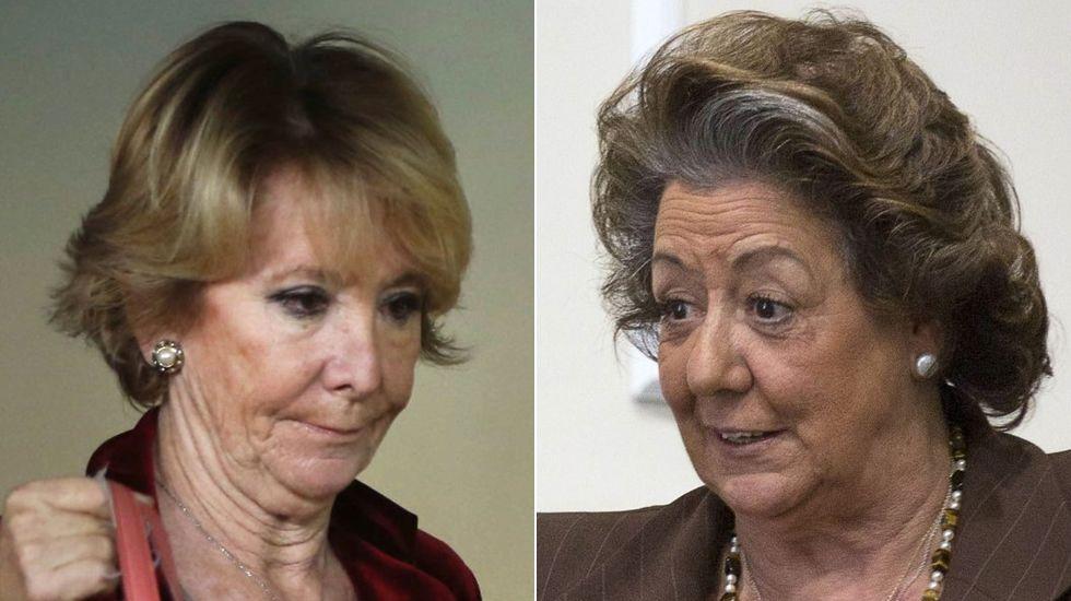 «A mí por corrupción no me van a imputar».Una imagen de Esperanza Aguirre y Cristina Cifuentes conversando durante la reunión de la Junta Directiva del PP regional celebrada el mes pasado