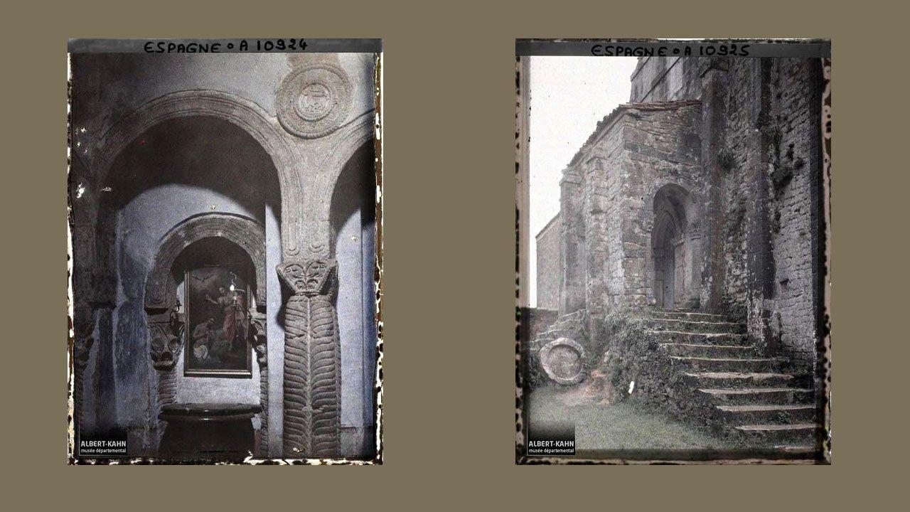Interior y entrada de Santa María del Naranco