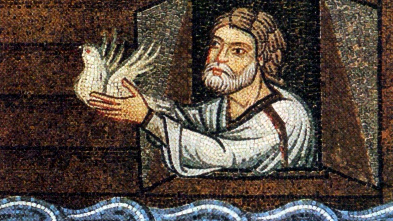 Noé suelta la paloma. Mosaico del siglo XIII en el pórtico del atrio de la basílica de San Marcos de Venecia
