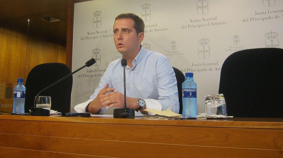 Daniel Ripa y Ramón Argüelles, encabezaron las delegaciones de Podemos e IU que se reunieron en la Junta General del Principado.David Medina