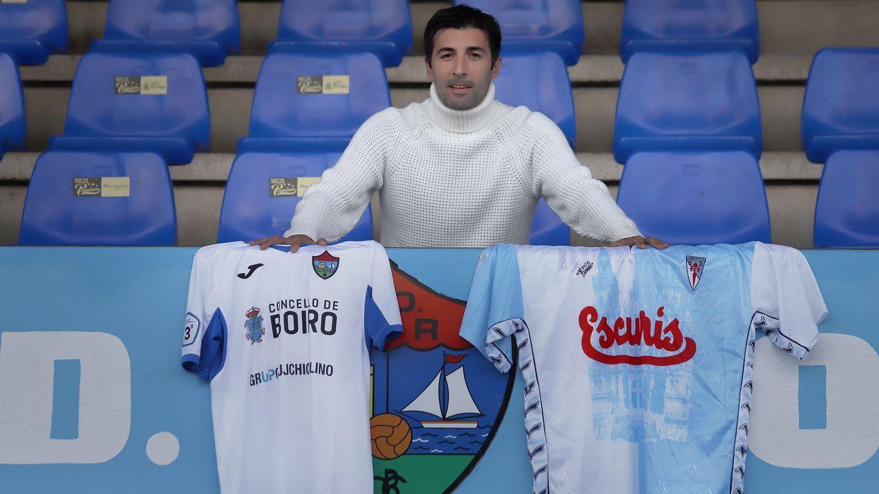 Partido de fútbol entre Boiro y Rácing de Ferrol.Ramón Fábregas Valcarce y Carlos Rodríguez Rellán, en sendas imágenes de archivo