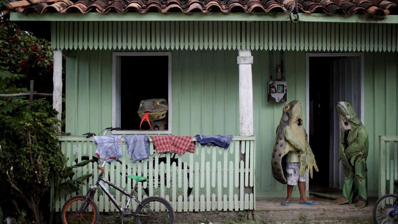 Tres personas disfrazadas de animales en Cameta, Brasil, donde se celebra estos días el Carnaval
