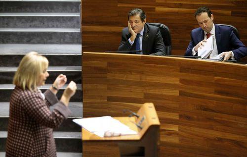 Mercedes Fernández, en un momento de su intervención en el debate del estado de la región