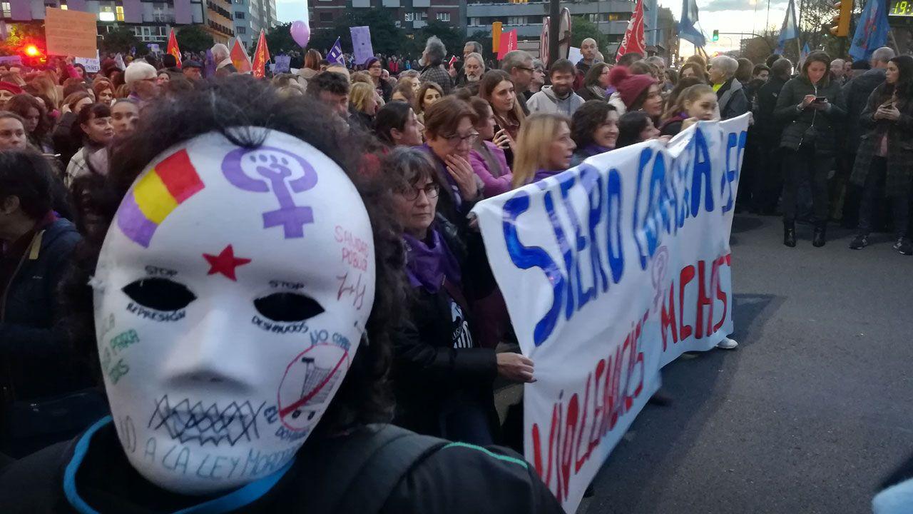 .Un momento de la marcha, con una máscara reivindicativa en primer plano