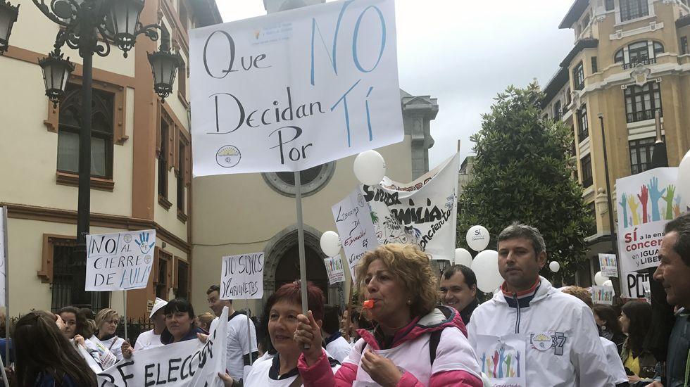 Los manifestantes de la escuela se vistieron con camisetas y se armaron con carteles para reivindicar la libertad de elección de centro.Los manifestantes de la escuela se vistieron con camisetas y se armaron con carteles para reivindicar la libertad de elección de centro
