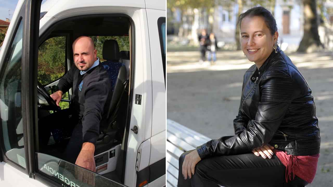 Óscar trabaja como chófer en una ruta de transporte adaptado y Lucía realiza tareas de balizaje en una tienda de equipamiento deportivo