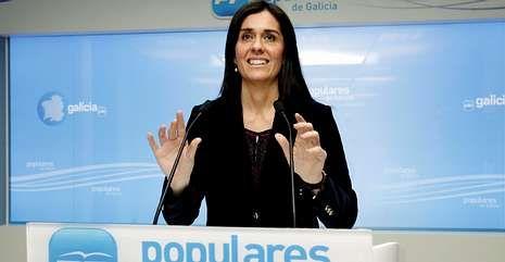 .Paula Prado, en una rueda de prensa como portavoz del PPdeG, en febrero.