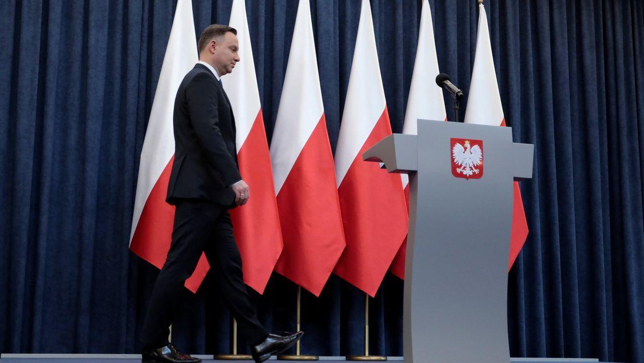 .El presidente polaco Andrzej Duda, en la comparecencia para anunciar la firma de la ley sobre el Holocausto