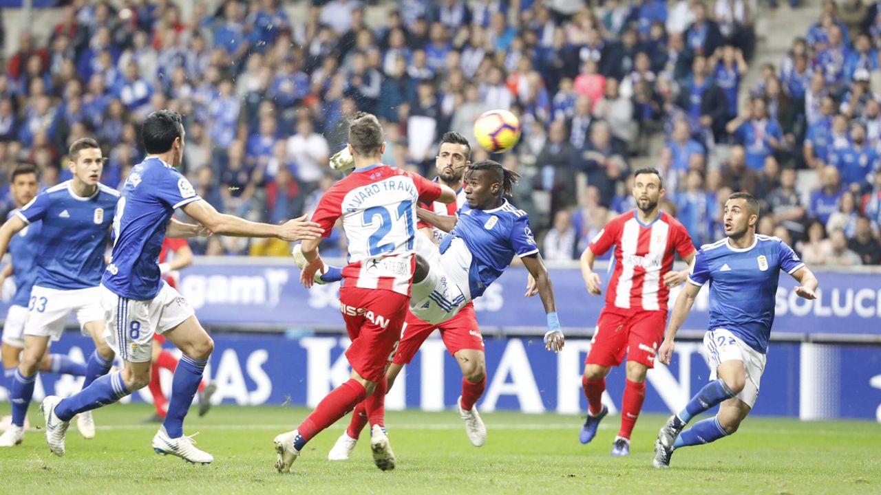 Gol Ibra Real Oviedo Sporting derbi Carlos Tartiere.Derbi entre el Oviedo y el Sporting en el Tartiere en 2018