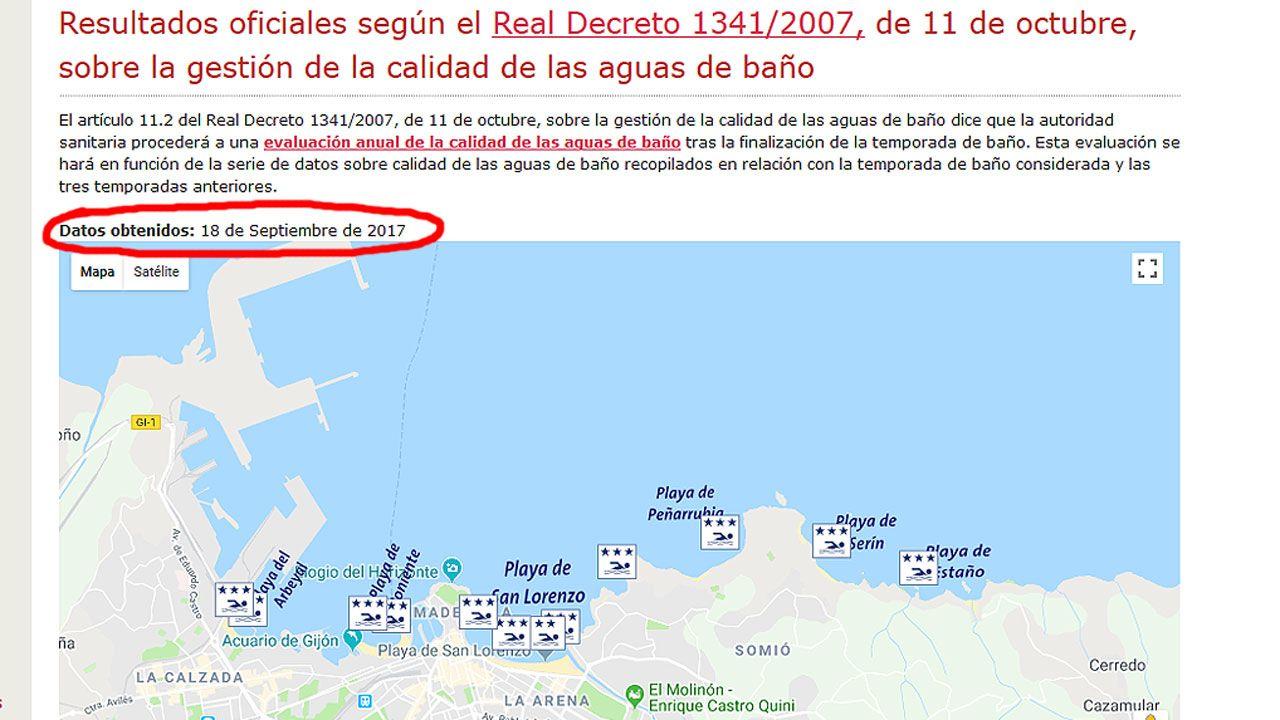 La autopista del Huerna.Pantalla de la web municipal donde se informa del estado de las aguas del baño en Gijón