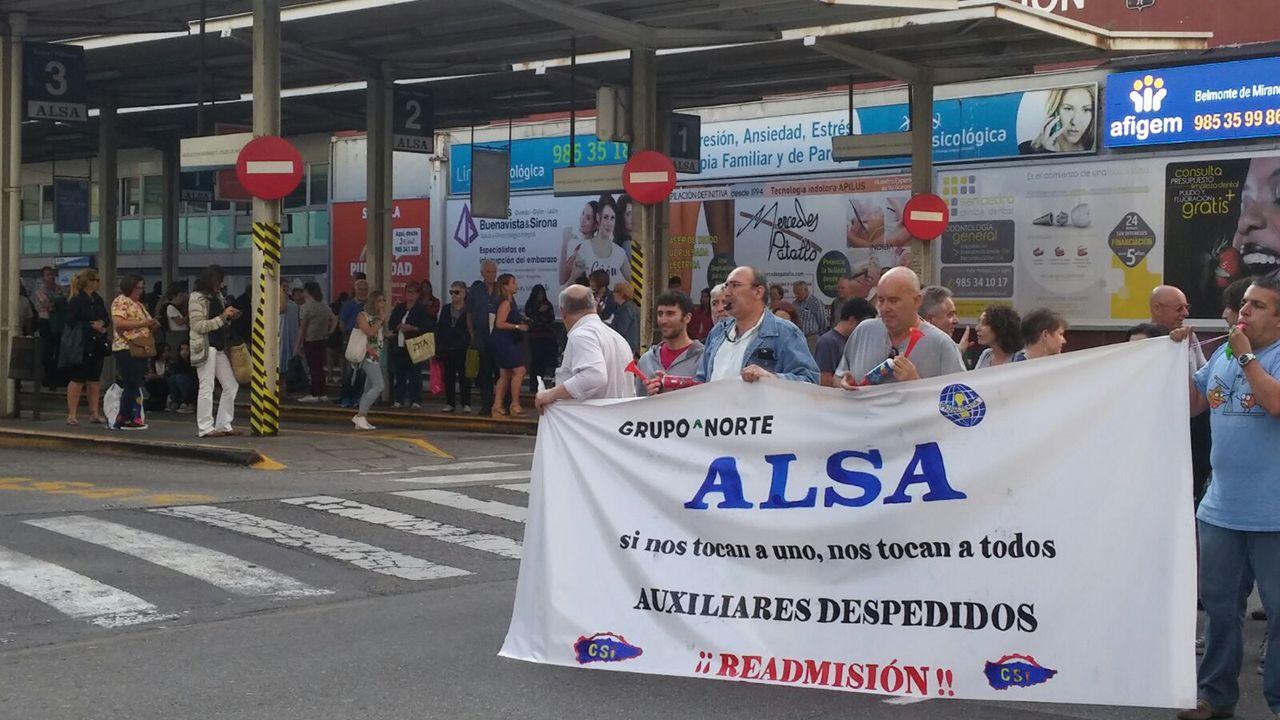 La carretera nevada de acceso al puerto de San Isidro, entre Asturias y León.Protesta de los trabajadores de las auxiliares de Alsa