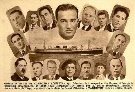 tarjeta.Tarjeta postal expedida por la Federación Española de Deportados e Internados Políticos en 1947 pidiendo la liberación de los marinos del «Cabo San Agustín»