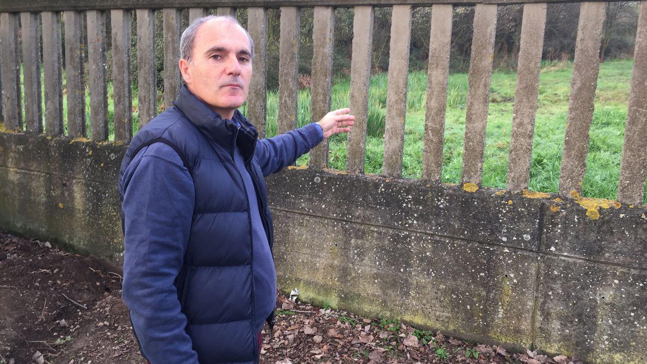 El director del CEIP señala el punto en el que apareció el hombre, que después falleció