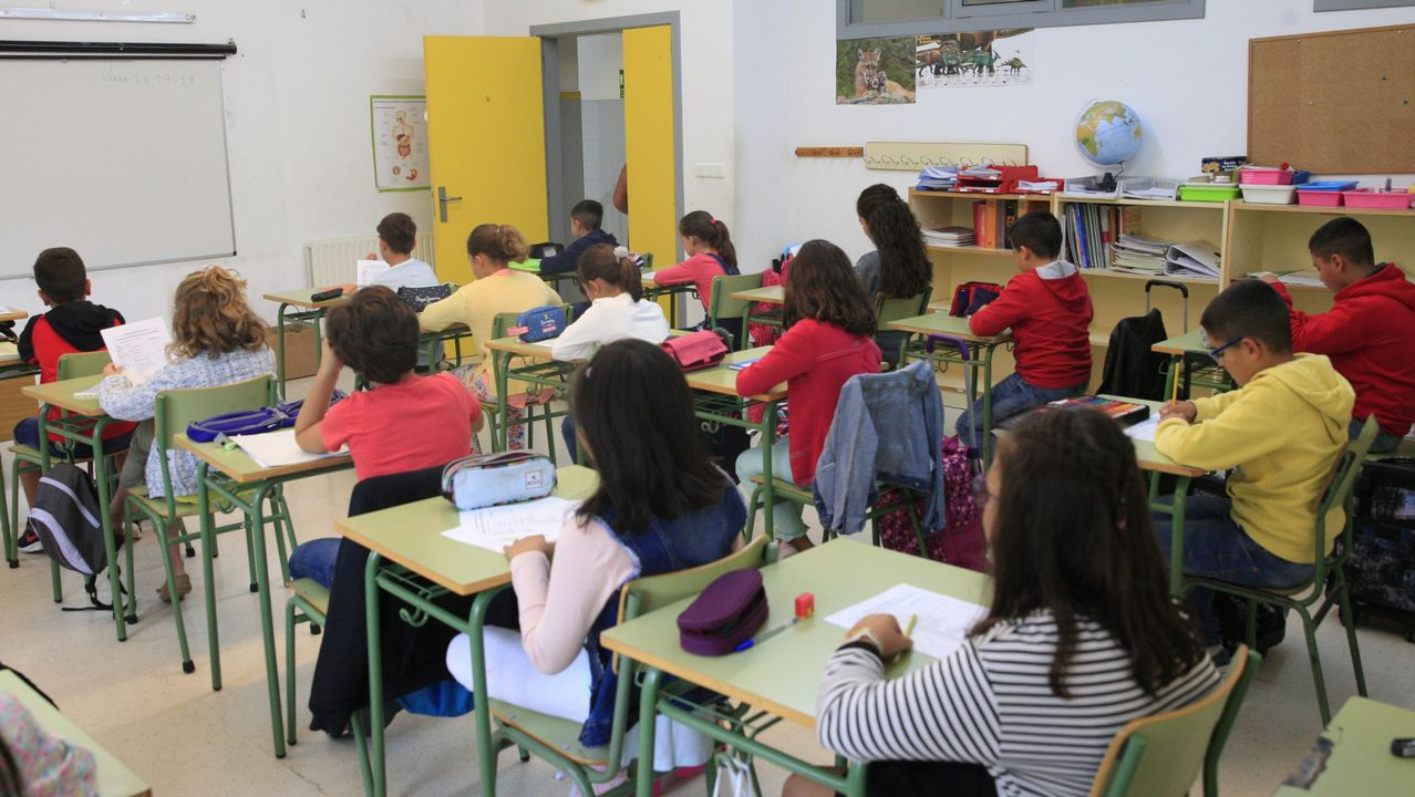 .Un grupo de alumnos del colegio Padre Feijoo de Allariz, en una imagen de archivo