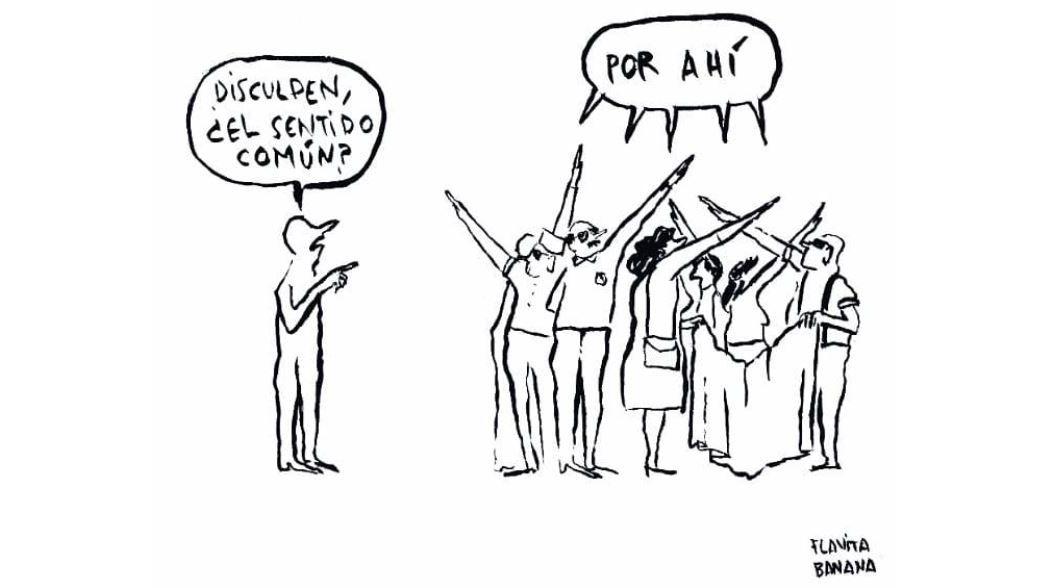 Así es el humor en blanco y negro de Flavita Banana.Por la izquierda, Carmen Osorio, Isabel Llano, Eugenia Suárez, Carmen García y Carmen Barcia