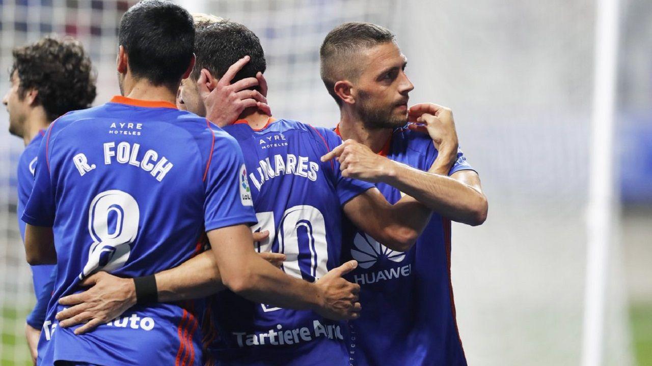 Folch, Linares y Rocha en un partido con el Oviedo