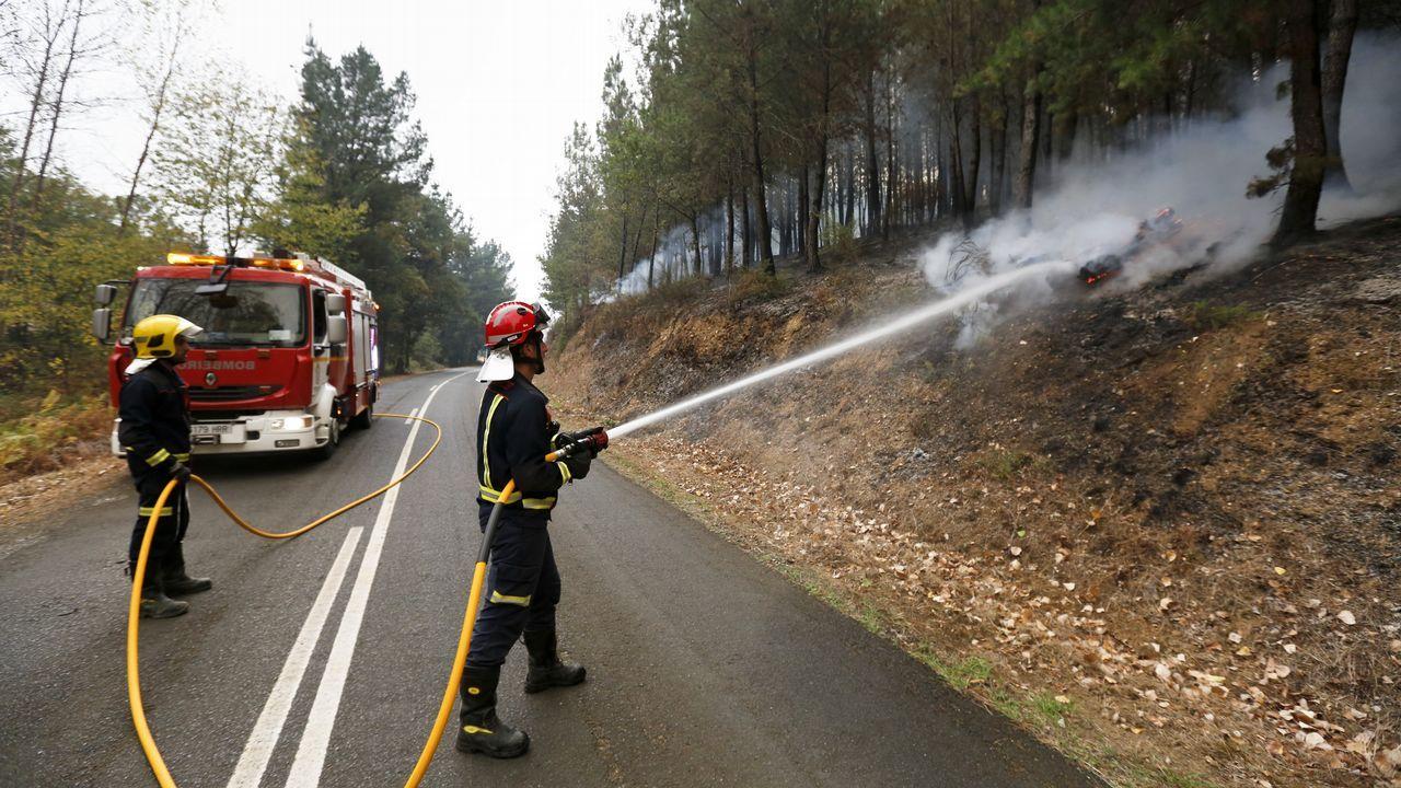 Labores de mantenimiento del incendio de Chavaga