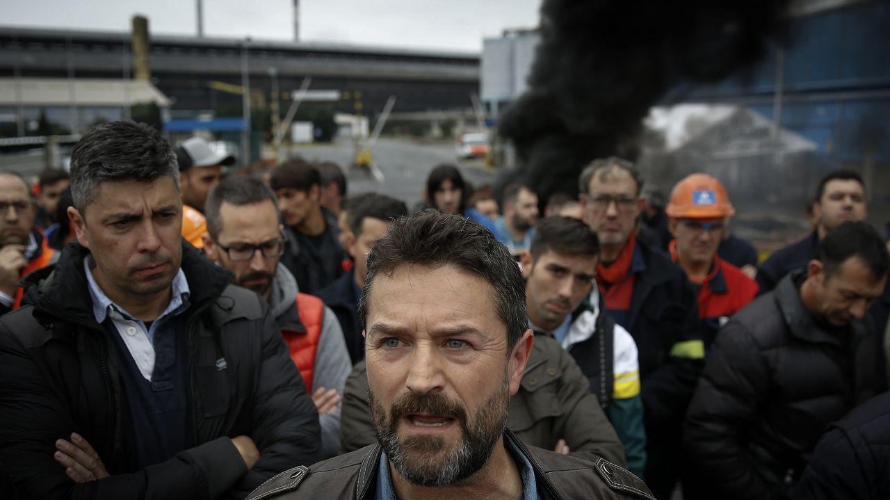 Juan Carlos López Corbacho, presidente del comité de empresa de la factoría de A Coruña, en una de las últimas concentraciones ante la fábrica